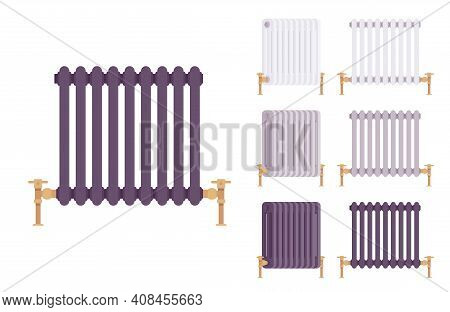 Steam Radiator Cast Iron Retro Set For Heating Comfort. Equipment To Provide Warm Heat In House. Vec