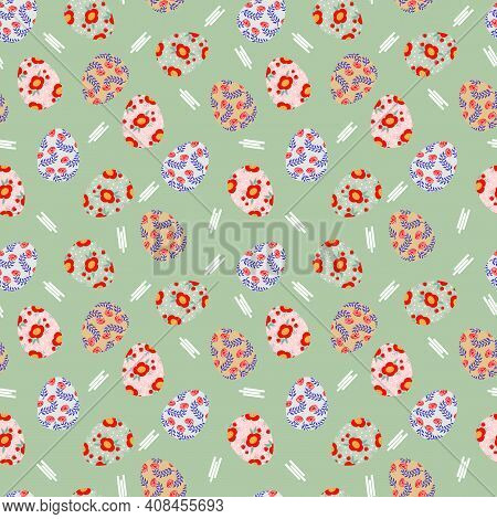 Colorful Easter Egg And Flower Seamless Pattern