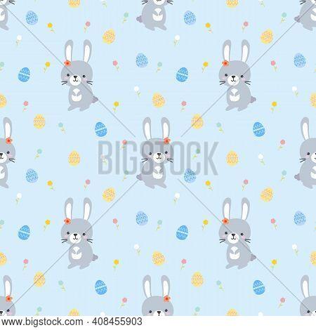 Lovely Bunny, Easter Egg And Easter Egg Seamless Pattern