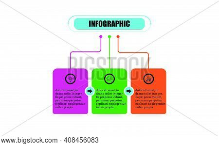 Square Timeline 3 Points Banner Elements And Numbers. Presentation Business Infographic Template Wit