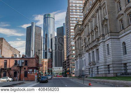 Detroit, Michigan - Usa - 06-29-2019: General Motors Headquarters In Downtown Detroit