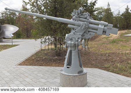 Sevastopol, Crimea, Russia - July 28, 2020: Ship 45-mm Semi-automatic Universal Cannon 21-km Model 1