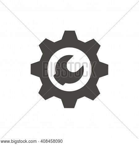 Cogwheel Or Gear With Wrench Vector Icon. Gog Wheel, Spanner Or Technical Support Symbol.