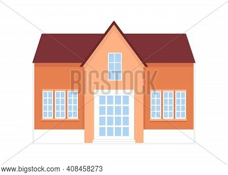 Beige And Orange Cottage With Facade, City Or Country Street Building With White Windows. Modern Res