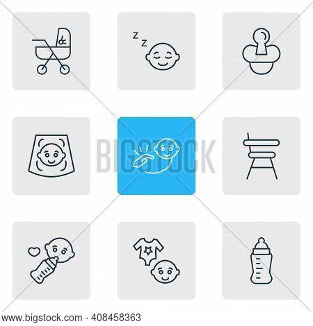 Vector Illustration Of 9 Child Icons Line Style. Editable Set Of Baby Ultrasonic Scanning, Sleeping
