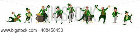 Irish Fantastic Character Leprechaun Set In Different Poses. Saint Patrick's Day Vector Cartoon Char