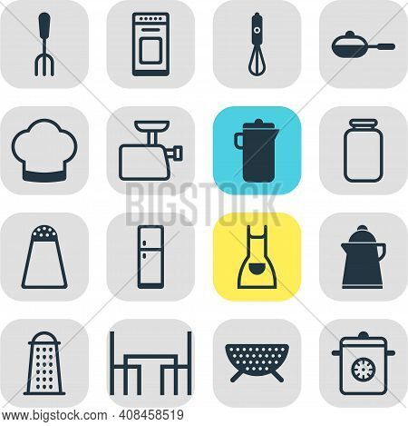 Vector Illustration Of 16 Cooking Icons. Editable Set Of Meat Grinder, Colander, Kettle Icon Element