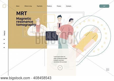 Medical Tests Illustration - Magnetic Resonance Tomography - Modern Flat Vector Concept Digital Illu