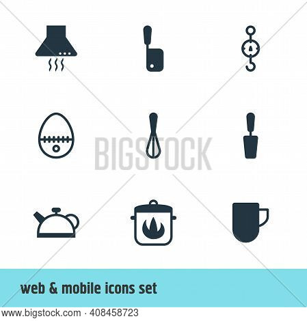 Vector Illustration Of 9 Cooking Icons. Editable Set Of Hot Pan, Egg Split, Meat Cleaver And Other I