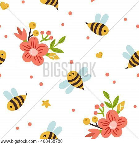 Honey Bee Kids Seamless Pattern, Cute Bumble Bee Digital Paper, Cartoon Insects And Summer Flowers,