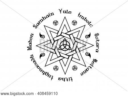 Book Of Shadows Wheel Of The Year Modern Paganism Wicca. Wiccan Calendar And Holidays. Compass With