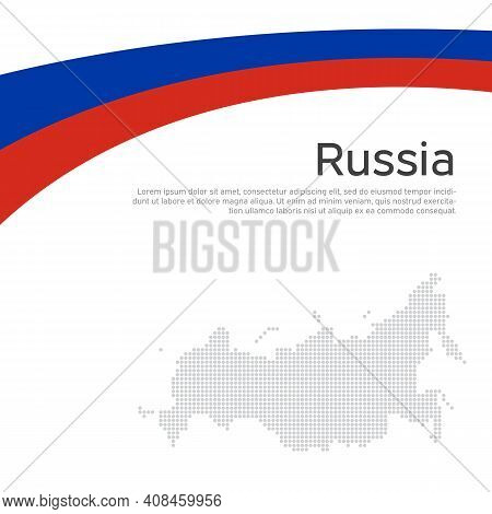 Abstract Waving Flag, Mosaic Map Russia. Flat Style. Creative Background For Design Of Patriotic Hol