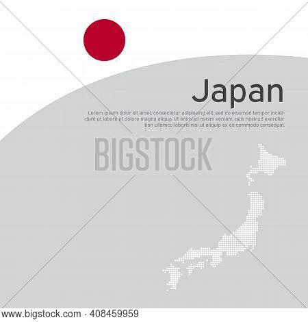 Cover, Banner In The Colors Of Japan. Background - Japan Wavy Flag. Flat Style Illustration. Japanes