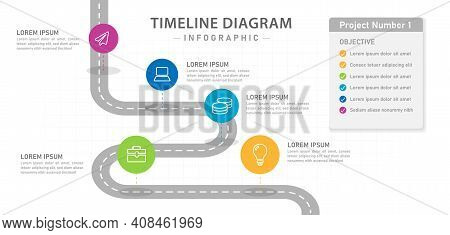 Infographic Template For Business. 5 Steps Modern Timeline Diagram With Roadmap And Boxes, Presentat