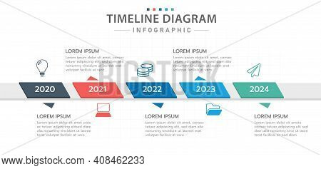 Infographic Template For Business. 5 Steps Modern Timeline Diagram With Roadmap, Presentation Vector