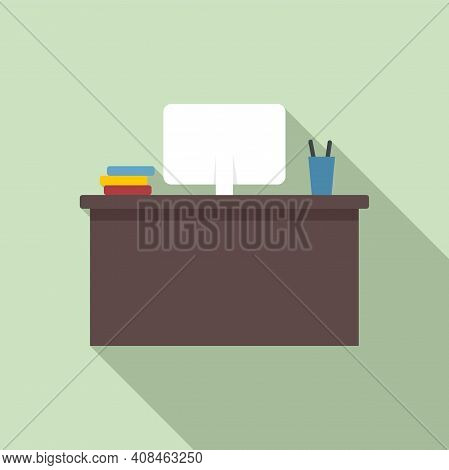 Office Manager Desktop Icon. Flat Illustration Of Office Manager Desktop Vector Icon For Web Design