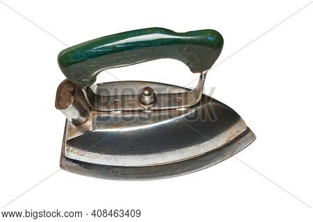Old Iron. Top View Of Old Electric Iron For Ironing Isolated On White Background. Old Household Appl