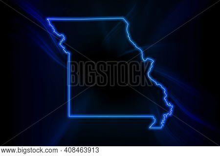 Glowing Map Of Missouri, Modern Blue Outline Map, On Dark Background