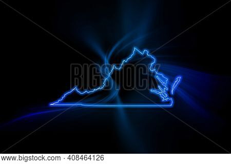 Glowing Map Of Virginia, Modern Blue Outline Map, On Dark Background