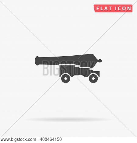 Cannon, War Weapon Flat Vector Icon. Hand Drawn Style Design Illustrations.