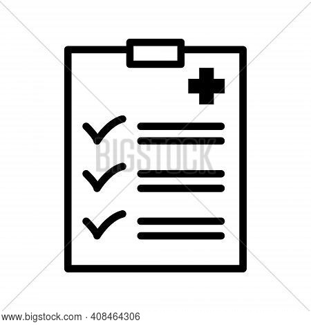 Clip Board With Hospital Documents. Medical Insurance Forms. Doctor Paperwork. Sick Leave. Vector Il
