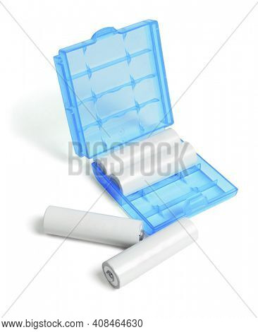 Rechargeable Batteries and Plastic Holder on White Background