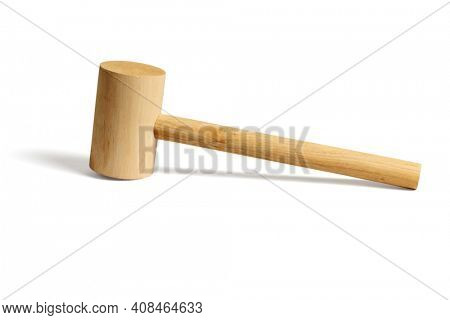 Carpentry Tool  Wooden Hammer on White Background
