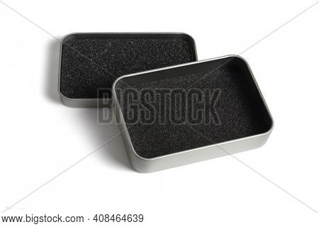 Metal Container with Protective Sponge on White Background