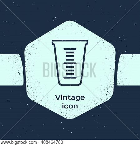 Grunge Line Measuring Cup To Measure Dry And Liquid Food Icon Isolated On Blue Background. Plastic G
