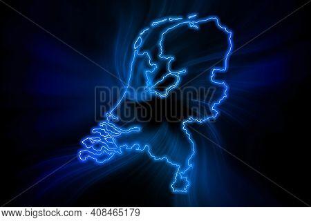 Glowing Map Of Netherlands, Modern Blue Outline Map, On Dark Background