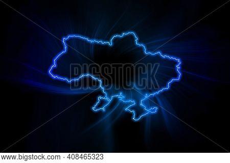 Glowing Map Of Ukraine, Modern Blue Outline Map, On Dark Background