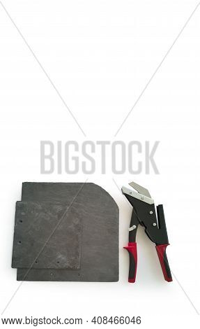 New Professional Tool,slate Cutter,black With Red Handles,isolated On White Background,and Sheets Of