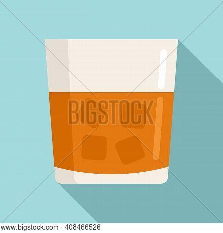 Casino Whiskey Glass Icon. Flat Illustration Of Casino Whiskey Glass Vector Icon For Web Design