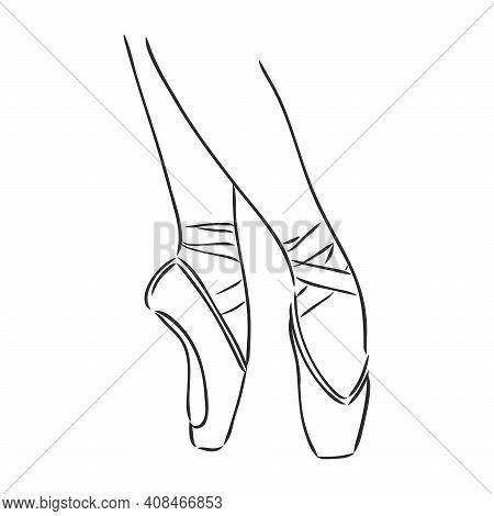 Pointe Shoes. Ballet Shoes. Vector Hand-drawn Illustration. Ballet Dance Studio Symbol. Pointe Shoes