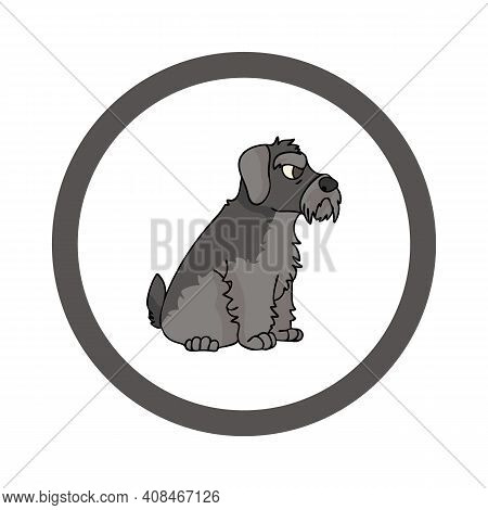 Cute Cartoon Schnauzer In Circle Puppy Vector Clipart. Pedigree Kennel Doggie Breed For Kennel Club.