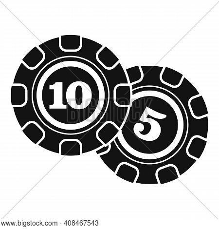 Casino Chips Icon. Simple Illustration Of Casino Chips Vector Icon For Web Design Isolated On White