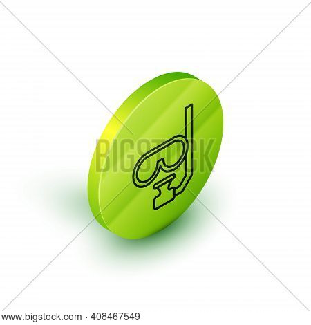 Isometric Line Diving Mask And Snorkel Icon Isolated On White Background. Extreme Sport. Diving Unde