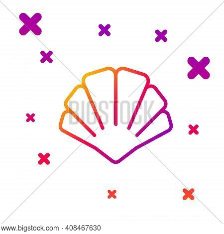 Color Line Scallop Sea Shell Icon Isolated On White Background. Seashell Sign. Gradient Random Dynam