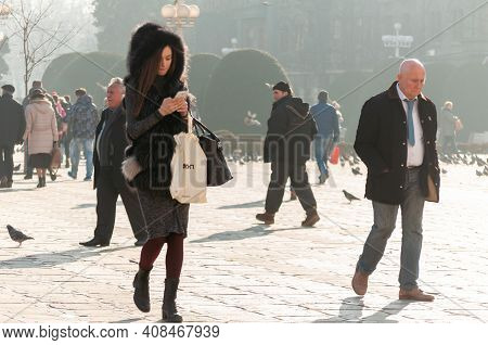 Timisoara, Romania - February 16, 2017: People Walking On The Street. Real People.