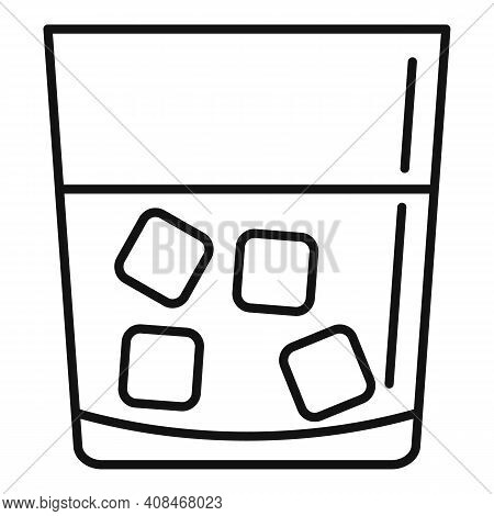 Casino Whiskey Glass Icon. Outline Casino Whiskey Glass Vector Icon For Web Design Isolated On White