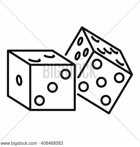 Casino Dices Icon. Outline Casino Dices Vector Icon For Web Design Isolated On White Background