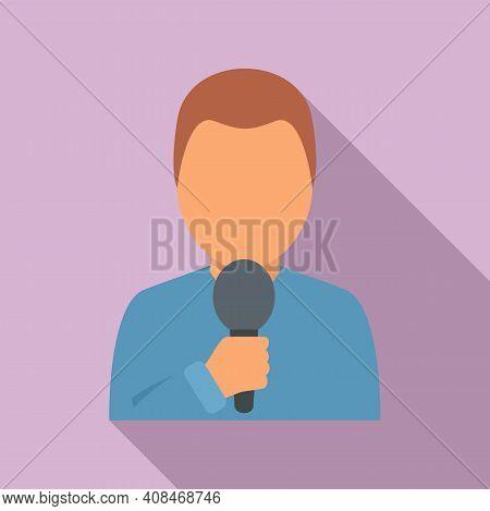 Tv Presenter Icon. Flat Illustration Of Tv Presenter Vector Icon For Web Design