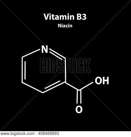 Vitamin B3. A Nicotinic Acid. Niacin, Vitamin Pp. Molecular Chemical Formula. Infographics. Illustra