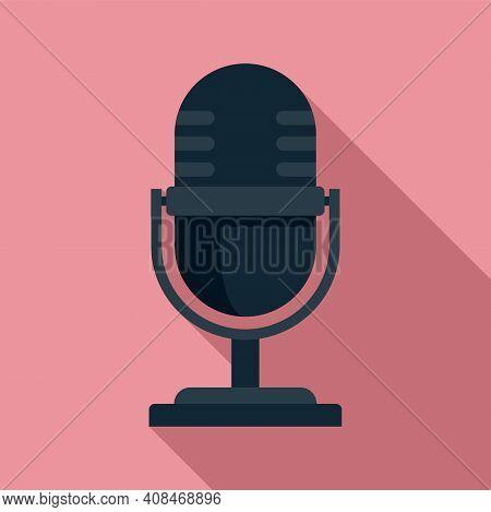 Tv Studio Microphone Icon. Flat Illustration Of Tv Studio Microphone Vector Icon For Web Design