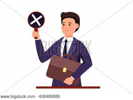 Businessman With Negative Mark And Vote. Businessman With Negative Mark And Vote.businessman With Ne