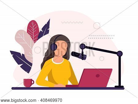 Podcast Concept Illustration. Female Podcaster Talking To Microphone Recording Podcast In Studio. Co