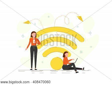 People In Free Internet Zone Working On Laptops Sitting On A Big Wifi Sign. Free Wifi Hotspot, Wifi