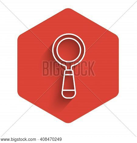 White Line Magnifying Glass Icon Isolated With Long Shadow. Search, Focus, Zoom, Business Symbol. Re