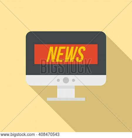 Tv Online News Icon. Flat Illustration Of Tv Online News Vector Icon For Web Design