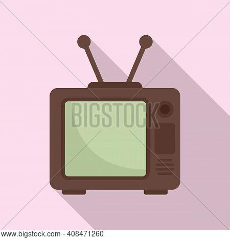 Old Tv Set Icon. Flat Illustration Of Old Tv Set Vector Icon For Web Design